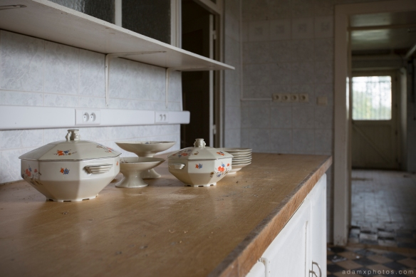 Basement kitchen detail crockery Adam X Urbex UE Urban Exploration Belgium Chateau TP Team Piscine hotel abandoned derelict unused empty disused decay decayed decaying grimy grime