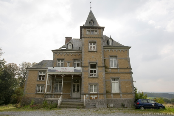 External Outside Front view Adam X Urbex UE Urban Exploration Belgium Chateau TP Team Piscine hotel abandoned derelict unused empty disused decay decayed decaying grimy grime