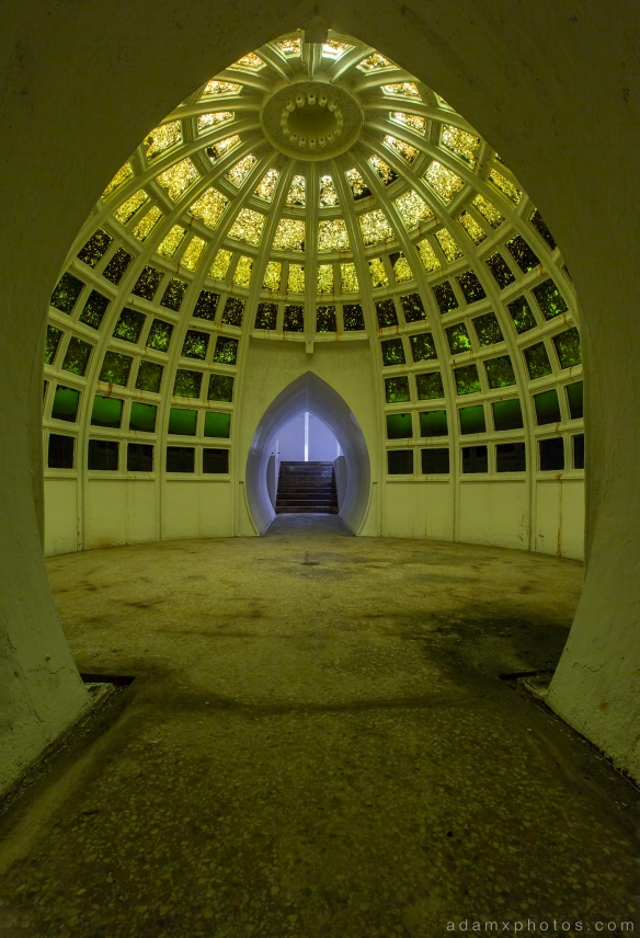 Underwater Ballroom Witley Adam X Whitaker Wright Urbex Urban Exploration skylight light green photo photos report decay detail glass windows UE abandoned derelict unused empty disused decay decayed decaying grimy grime