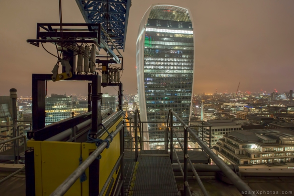 Rooftop L New year's years eve 2014 2015 Adam X Urbex UE Urban Exploration London Rooftops High Night Photo Photography Skyline Walkie Talkie building