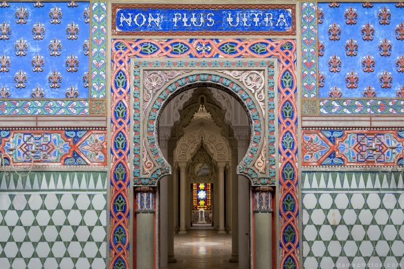 Hall of the Lilies Sala dei gigli looking through to Great White Rotunda detail doors tiles colours Non Plus Ultra Fairytale Castle of Sammezzano Castello di Sammezzano Urbex Adam X Urban Exploration photo photos report decay detail UE abandoned Ornate Moorish tiling tiled derelict unused empty disused decay decayed decaying grimy grime