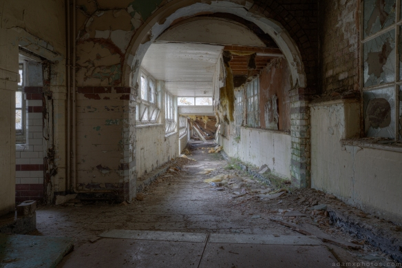 Collapsing roof corridor Denbigh Asylum Wales Urbex Urban exploration Adam X Urban Exploration Photo photos photographs UK March 2015 report abandoned disused derelict decay decayed