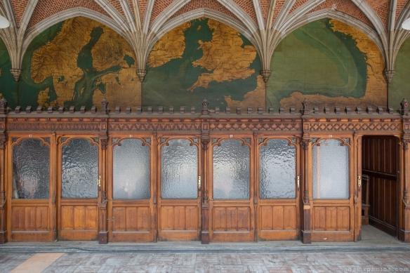 booths woodwork maps ceiling ornate tiles CDC Chambre De Commerce Antwerp Belgium Antwerpen Urbex Adam X Urban Exploration 2015 Abandoned decay lost forgotten derelict