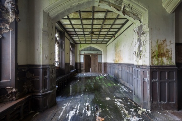 downstairs corridor flooding camping St Joseph's Seminary Joe's Upholland Urbex Adam X Urban Exploration 2015 Abandoned decay lost forgotten derelict
