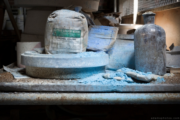 enamel colour blue cobalt chemicals TG Green Green's pottery derbyshire Urbex Adam X Urban Exploration 2015 Abandoned decay lost forgotten derelict