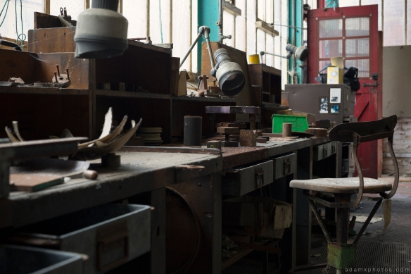 workshop desk bench chair West Bromwich Spring Company Helical Works Springs industry industrial Urbex Adam X Urban Exploration 2015 Abandoned decay lost forgotten derelict
