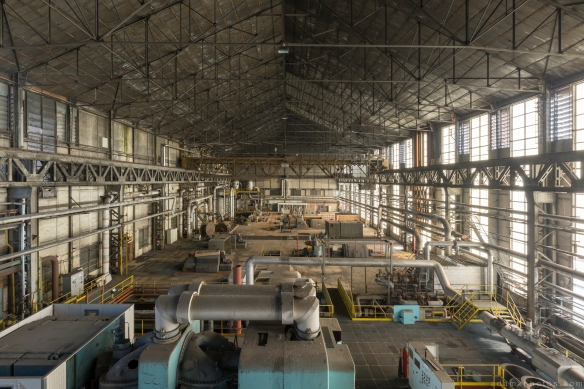 Turbine Hall high up gantry overlooking turbines The Blue Power Plant Station Belgium Belgie Industrial Industry infiltration Urbex Adam X Urban Exploration 2015 Abandoned decay lost forgotten derelict