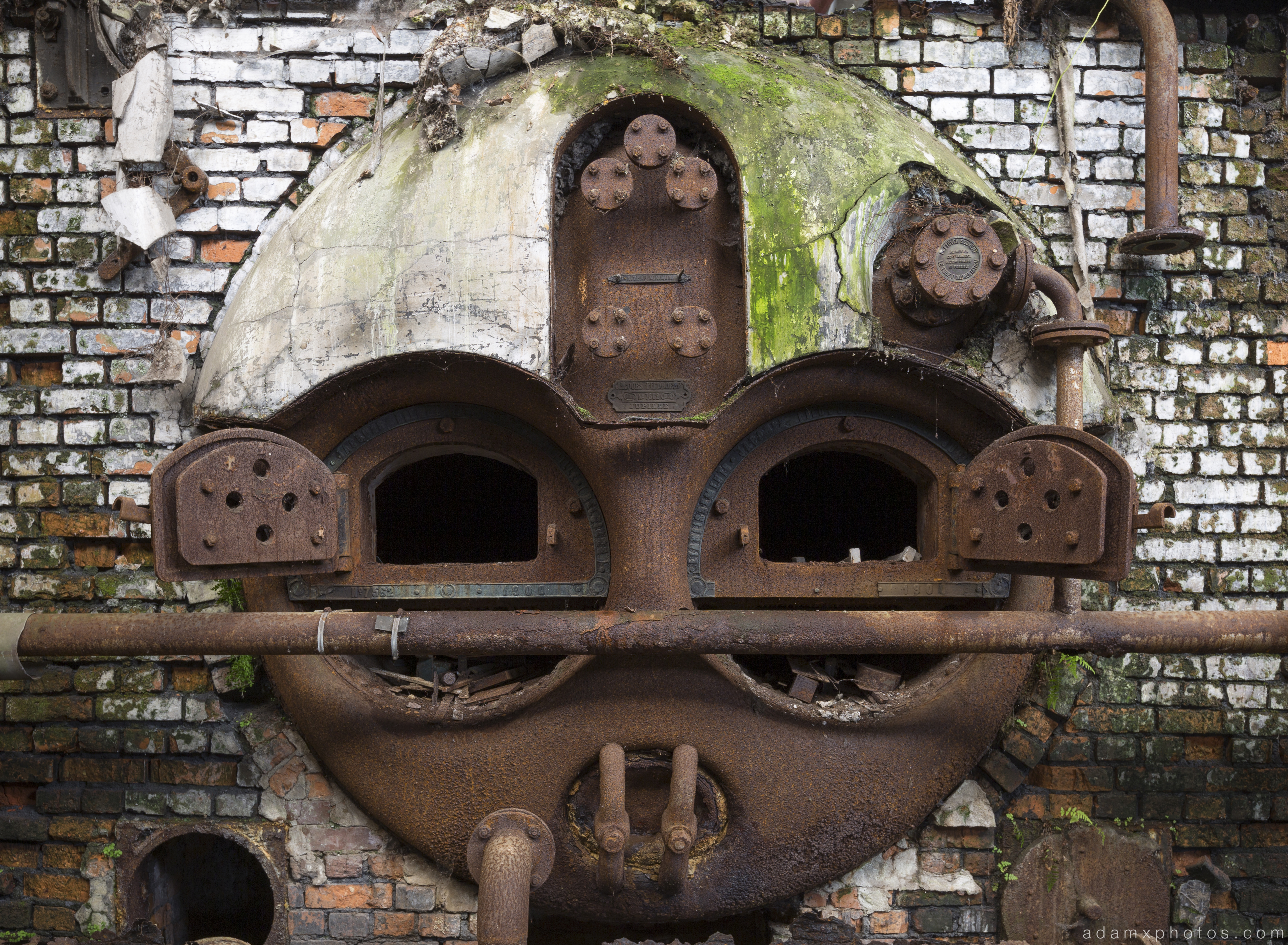 Urbex Faces Face metal oven furnace overgrown Usine S Belgium Textile Wool Factory Urbex Adam X
