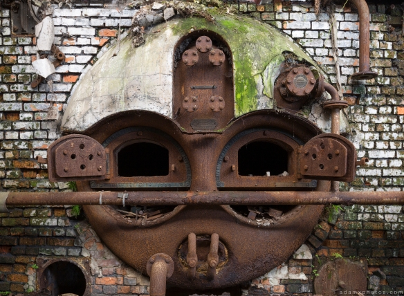 Urbex Faces Face metal oven furnace overgrown Usine S Belgium Textile Wool Factory Urbex Adam X Urban Exploration Access 2016 Abandoned decay lost forgotten derelict