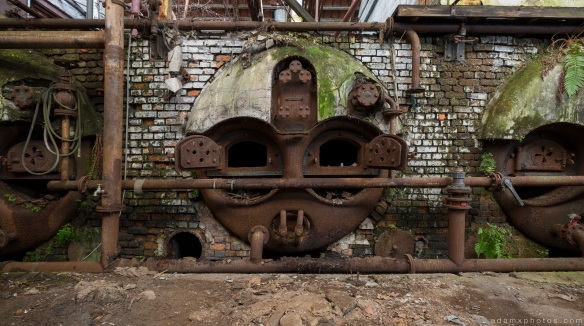 Overgrown faces face furnace Usine S Belgium Textile Wool Factory Urbex Adam X Urban Exploration Access 2016 Abandoned decay lost forgotten derelict