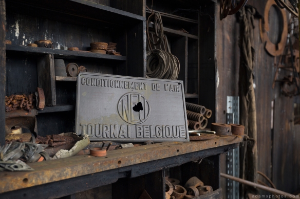 workshop sign Usine S Belgium Textile Wool Factory Urbex Adam X Urban Exploration Access 2016 Abandoned decay lost forgotten derelict
