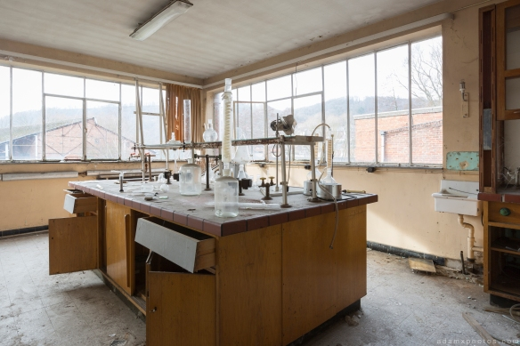 lab laboratory equipment Usine S Belgium Textile Wool Factory Urbex Adam X Urban Exploration Access 2016 Abandoned decay lost forgotten derelict