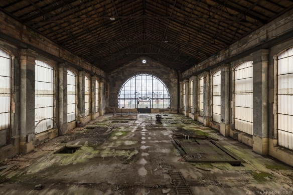 Turbine Hall windows ornate curved arch Powerplant Puits Simon II (PS II) decay Urbex Adam X Urban Exploration Access 2016 Abandoned decay lost forgotten derelict location