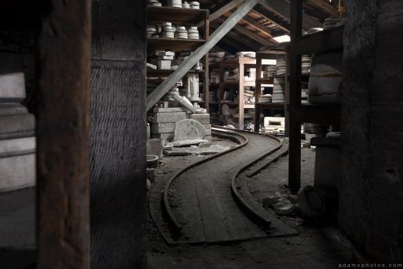 Faiencerie S Poterie S Tracks cart Poterie DGM Urbex Pottery ceramics ceramic factory France Adam X Urban Exploration Access 2016 Abandoned decay lost forgotten derelict location
