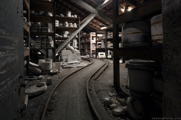 Faiencerie S Poterie S tracks cart Poterie DGM Urbex Pottery ceramics ceramic factory France Adam X Urban Exploration Access 2016 Abandoned decay lost forgotten derelict location