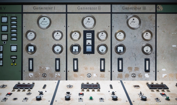 Control room generator dials controls Kraftwerk Plessa Urbex Powerplant Germany Adam X Urban Exploration Access 2016 Abandoned decay lost forgotten derelict location
