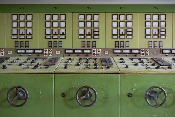 Control panels green control room Kraftwerk V Urbex Powerplant Germany Adam X Urban Exploration Access 2016 Abandoned decay lost forgotten derelict location Deutschland