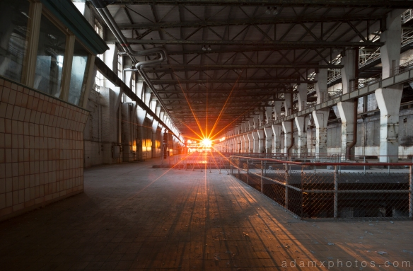 Turbine Hall sunset sunsburst Kraftwerk V Urbex Powerplant Germany Adam X Urban Exploration Access 2016 Abandoned decay lost forgotten derelict location Deutschland