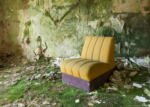 Yellow green chair Grand Hotel Atlantis Urbex Germany Adam X Urban Exploration Access 2016 Abandoned decay lost forgotten derelict location Deutschland