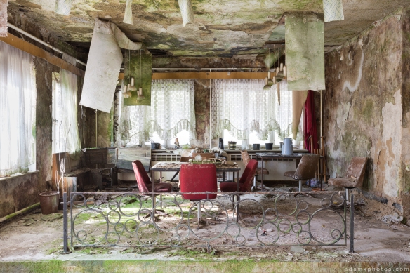 Dining Room table chairs green Biosphere Hotel Urbex Germany Adam X Urban Exploration Access 2016 Abandoned decay lost forgotten derelict location Deutschland Mould