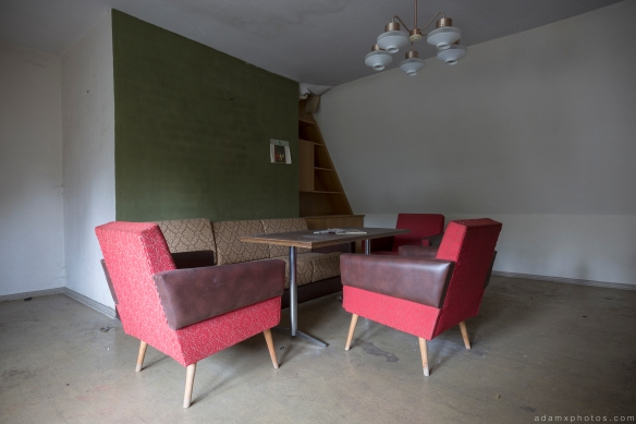Staff Wing accommodation lounge retro chairs Ferienhotel Sachsenhof Hotel Ski Alpine Urbex Germany Adam X Urban Exploration Access 2016 Abandoned decay lost forgotten derelict location Deutschland Mould