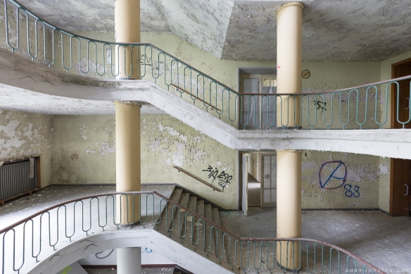 Stairs Staircase magnificent opulent post-war modernism architecture Speisehauses Dining House VEB Strömungswerke Urbex Germany Adam X Urban Exploration Access 2016 Abandoned decay lost forgotten derelict location Deutschland