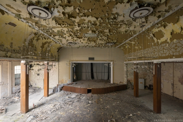 Main Stage view from balcony dangerous collapsing peeling paint Ballhaus K Ballroom Urbex Germany Adam X Urban Exploration Access 2016 Abandoned decay lost forgotten derelict location Deutschland