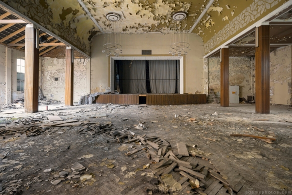 Main Stage parquet flooring warped peeling paint Ballhaus K Ballroom Urbex Germany Adam X Urban Exploration Access 2016 Abandoned decay lost forgotten derelict location Deutschland